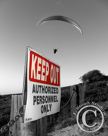 Gliders: Keep OUT  On a clear day in La Jolla, California the paragliders soared overhead while I composed this westerly exposure on a November evening.  Ago vita vos somnium (live the life you dream)