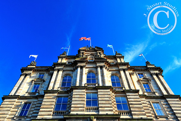 Edinburgh Town Hall  The flags were flying high, the sky was brilliant, and the air was crisp.  Edinburgh at its finest!  Ago vita vos somnium (live the life you dream)